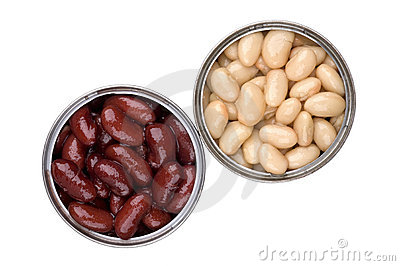 Two open tin cans with red and white  baked beans