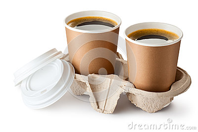 Two opened take-out coffee in holder Stock Photo