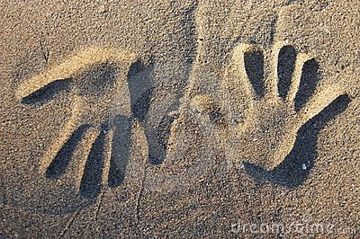 Two opposite handprints