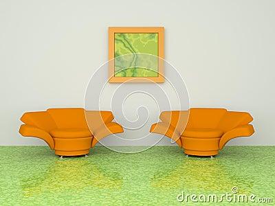 Two orange armchair