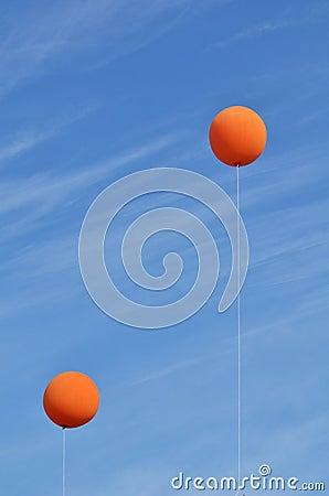 Free Two Orange Balloons Stock Photography - 23676252