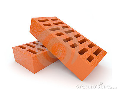 Two orange brick 3d on white background