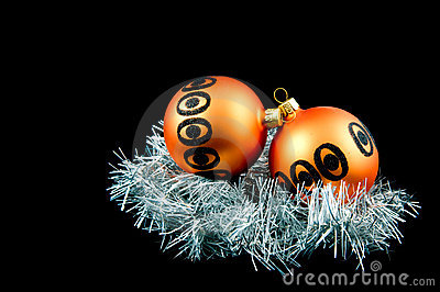 Two orange christmas balls