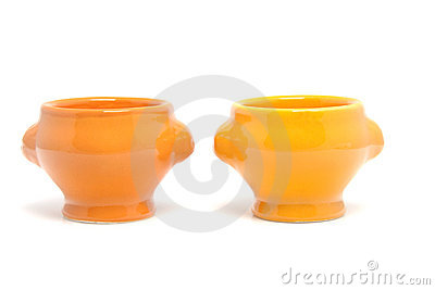 Two orange egg container bowl