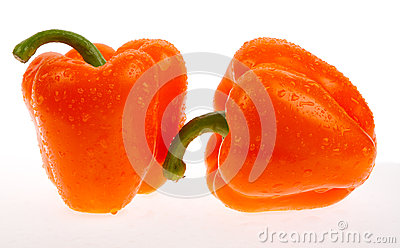 Two orange peppers