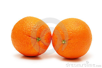 Two oranges isolated on the wh