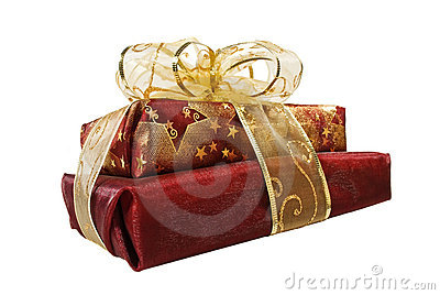 Two organza wrapped red gift boxes
