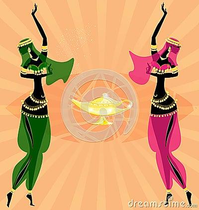 two oriental dancing girls