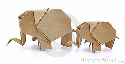 Two origami elephants recycle paper