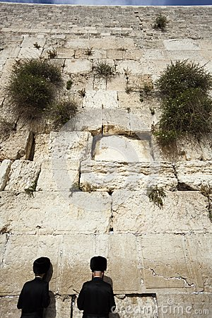 Praying at the Wailing Wall Editorial Stock Image