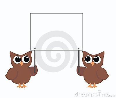 Two owls holding a placard