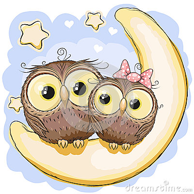Free Two Owls On The Moon Stock Photography - 56567712