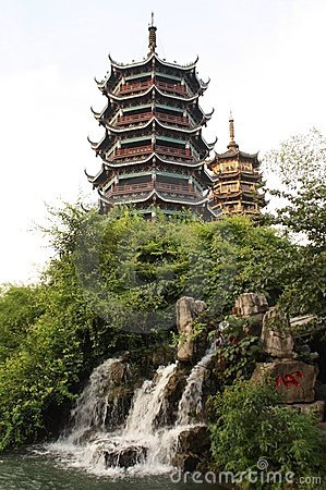 Free Two Pagodas And A Waterfall In Guiling, China Royalty Free Stock Images - 18839889