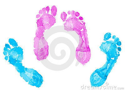 Two pairs of footprints