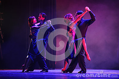 Two pairs of lovers-the identity of the mystery-Tango Dance Drama Editorial Stock Photo