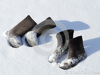 Two pairs of winter footwear