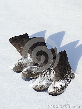 Two pairs of winter footwear