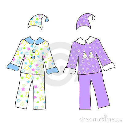 Two pajamas with stars isolated on white