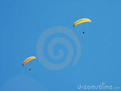 Two paragliders