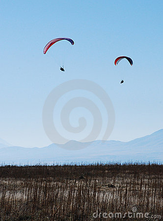 Two Paragliders on sky