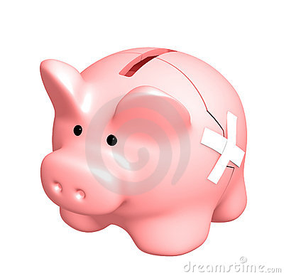 Two parts of a piggy bank, fastened by a plaster