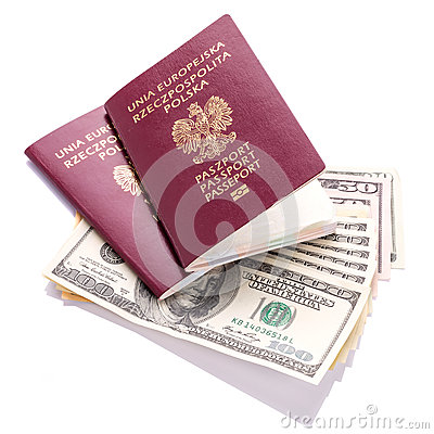 Passports and money ready for travel