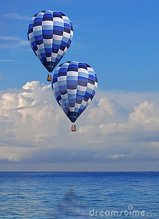 Two Peaceful Floating Hot Air Balloons Royalty Free Stock