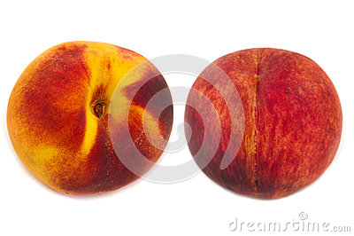 Two peaches isolated
