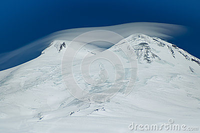 Two peaks of Elbrus. Caucasus Mountains.