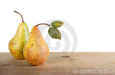 Two pears on a plank
