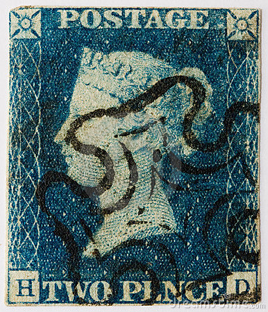 Two Penny Blue With Black Postmark Stock Images - Image: 14132374