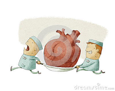 Two people carrying a heart