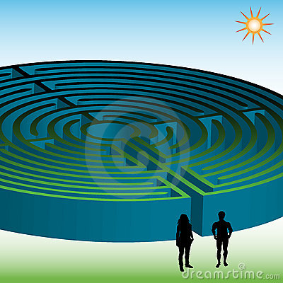 Two people in front of a maze