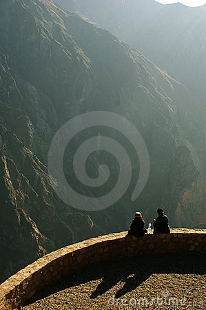 Free Two People On The Edge Of Colca Canyon Stock Image - 215381