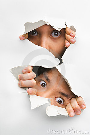 Free Two People Peeking From Hole In Wall Royalty Free Stock Image - 10094376