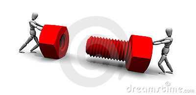 Two People Pushing Nut & Bolt Together