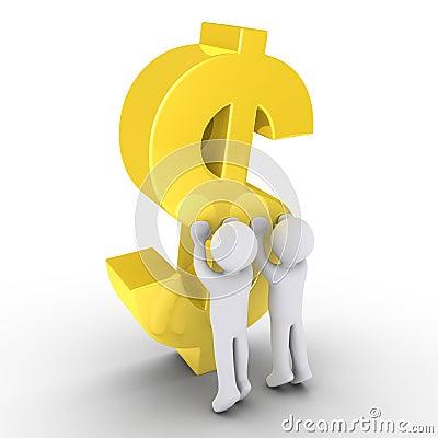 Two people raising a dollar symbol
