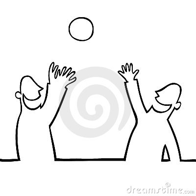 Two people throwing a ball at each other