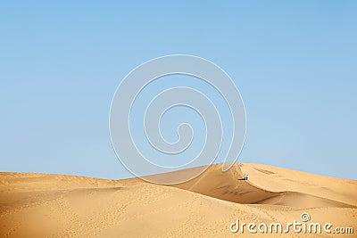Two people walking in desert dunes
