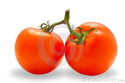 Two perfected tomatoes (with clipping path)