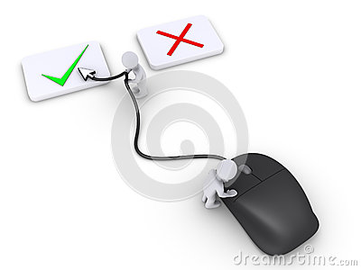 Two persons select right choice using mouse