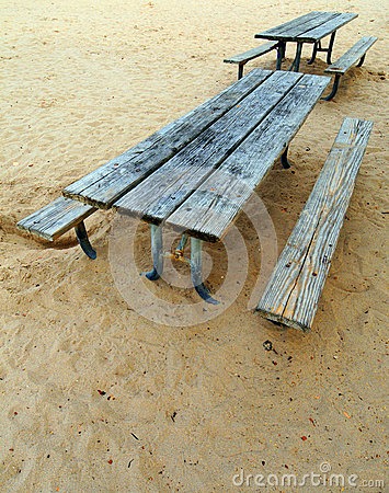 Two picnic benches