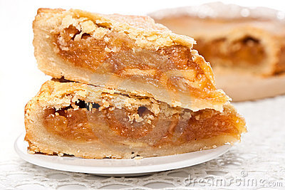 Two pieces of apple pie