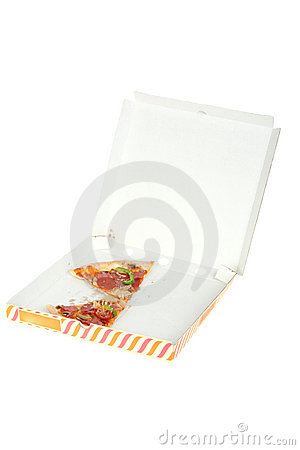 Two pieces of half-eaten pizza