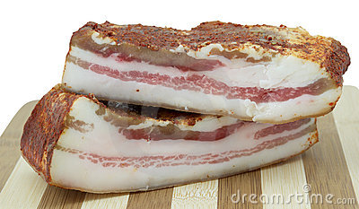Two pieces of smoked bacon