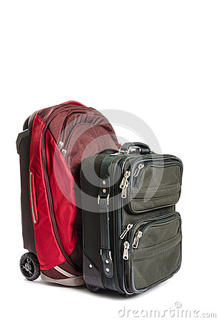 Two Pieces of Travel Luggage Isolated