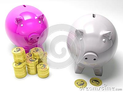 Two Piggybanks Savings Showing European Wealth