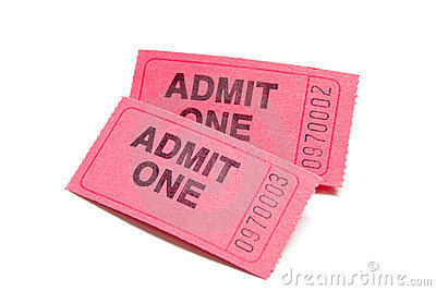 Two pink admission tickets on white