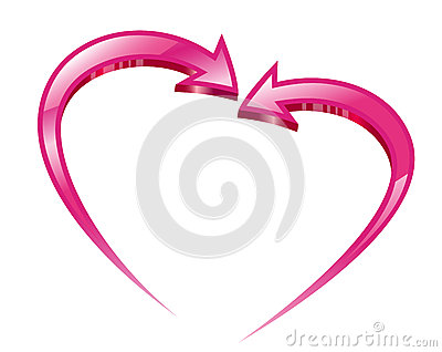 Two pink arrows create a heart shape.