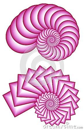 Two Pink Fractal Spirals